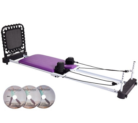 """As Is"" AeroPilates Reformer 5-Cord Rebounder 3DVDs & Pulley Risers"