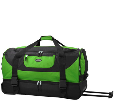 "Travelers Club 30"" 2-Section Drop-Bottom Rolling Duffel"