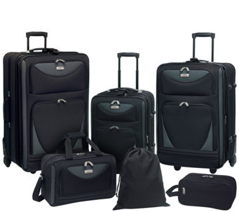 Travelers Club 6-Piece Softside Expandable Family Luggage Set - F249362