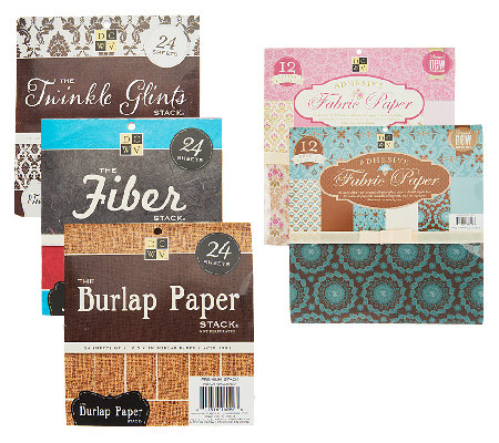 DCWV S/2 Adhesive Fabric Paper w/3 Textured Paper Stacks
