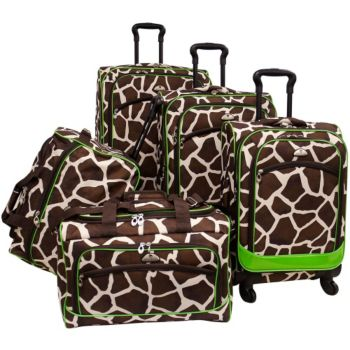 American Flyer Animal Print 5-Piece Spinner Luggage Set