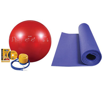 GoFit Stability Ball and Yoga Mat Bundle - F248673