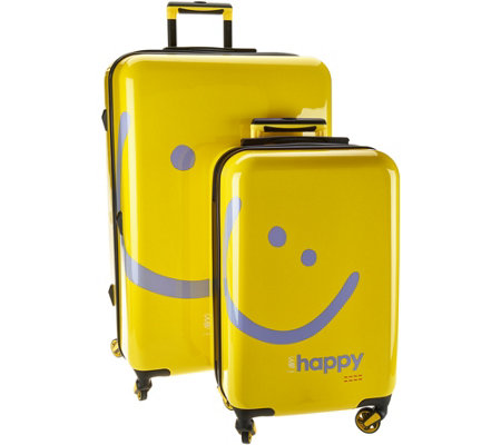 """As Is"" Peace Love World Two-Piece Hardside Luggage Set"