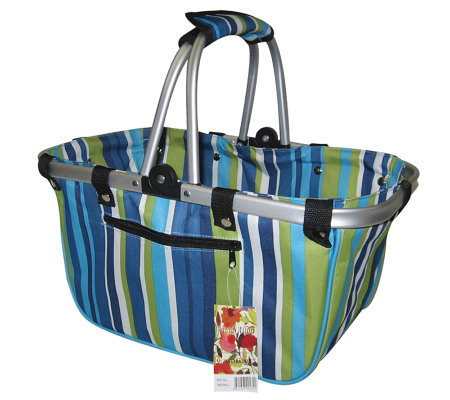 Janet Basket Blue Stripes Large Aluminum FrameBasket