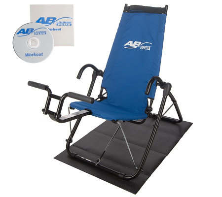Ab Lounge Plus Abdominal Fitness Machine w/DVD,Floor Mat and Meal Plan