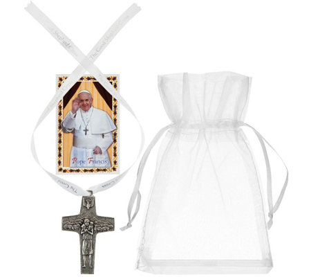 Pope Francis Christ the Good Shepherd Replica Cross with Ribbon