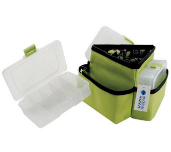 Mackinac Moon Triangle Storage Spinner w/3 Plastic Cases-Green - F247194