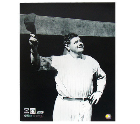 Babe Ruth Black & White Tip of the Cap at Dugout 16x20 Photo