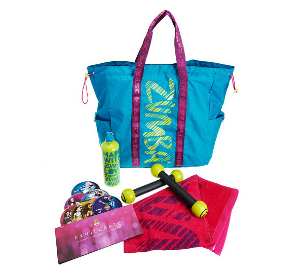 ZUMBA FITNESS Party On The Go Exhilarate Workout Set W Tote Bag
