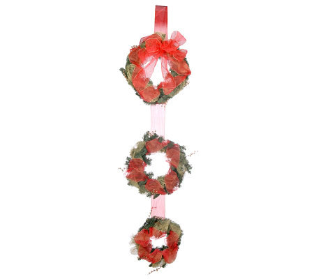 Set of 3 Hanging Wreaths with Ribbon by David Shindler