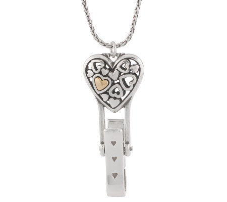 Brighton Floating Heart Badge Clip with Neck Chain