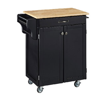 Home Styles Cuisine Cart Black Finish with Natual Top - H127300