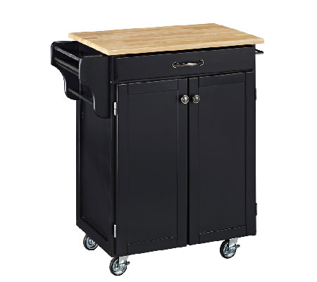 Home Styles Cuisine Cart Black Finish with Natual Top
