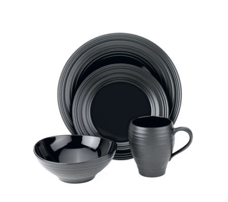 Mikasa Swirl Round 4 Piece Place Setting - Black