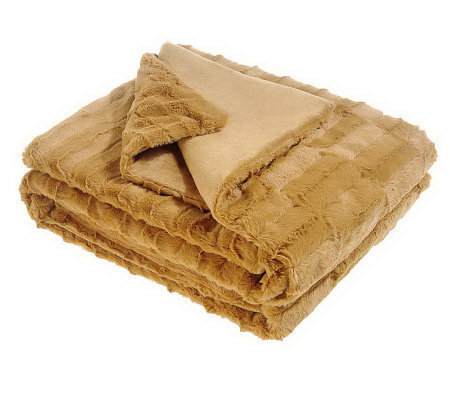 "Dennis Basso Textured Faux Fur 50""x60"" Throw"