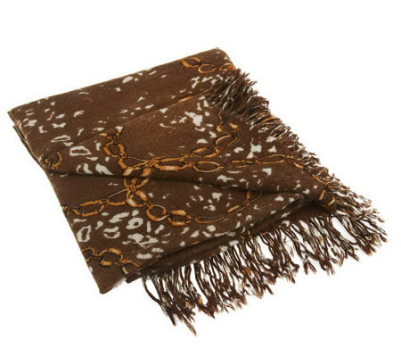 Dennis Basso Leopard and Chain Print Throw
