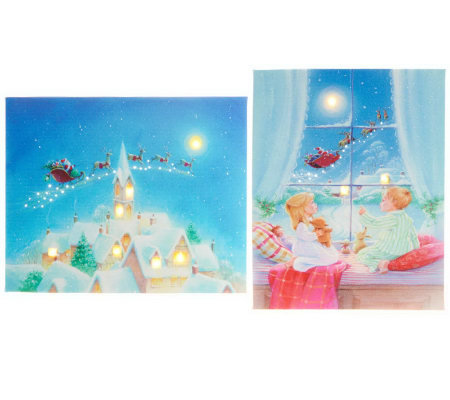 Illuminart Set of 2 Christmas Canvas Art w/ Built-in Easel