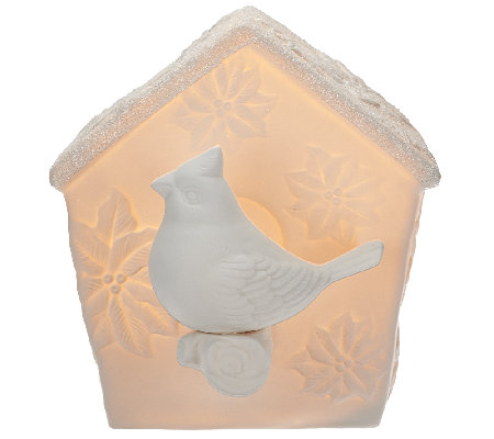 kringle express illuminated porcelain birdhouse page 1. Black Bedroom Furniture Sets. Home Design Ideas