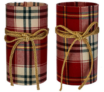 Set of 2 Fabric-Wrapped Flameless Candles w/ Jute Bows by Valerie - H206600