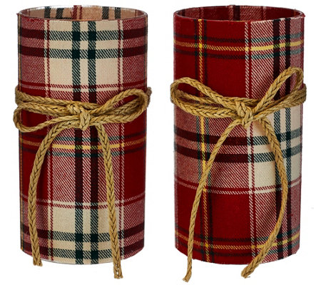 Set of 2 Fabric-Wrapped Flameless Candles w/ Jute Bows by Valerie