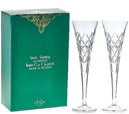 Lenox S/2 6 oz. Hand Cut Irish Crystal Fluted Glasses