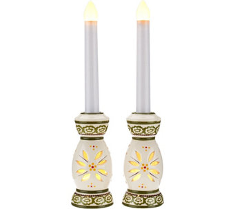 """As Is"" Temp-tations Set of (2) Taper Flameless Candles - H208100"