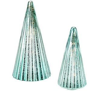 """As Is"" Dennis Basso Set of 2 Lit Mercury Glass Trees - H208400"