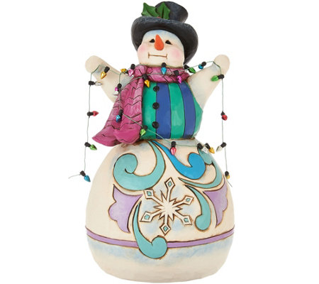 Jim Shore Heartwood Creek Snowman Wrapped in Lights Figurine