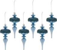 Set of 6 Jeweled Milk Glass Ornaments by Valerie