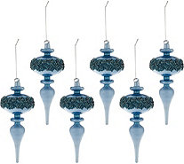 Set of 6 Jeweled Milk Glass Ornaments by Valerie - H209500