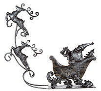 Santa Taking Flight Metal Sleigh & Flying Reindeer - H209600