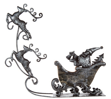 Santa Taking Flight Metal Sleigh & Flying Reindeer