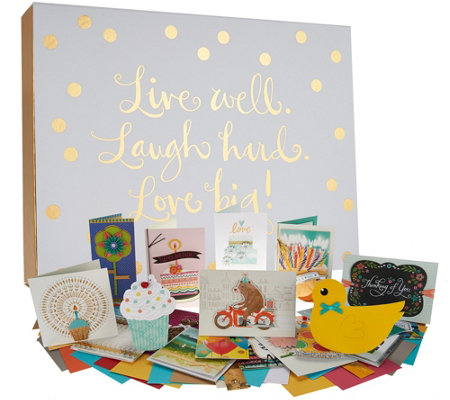 Hallmark 24ct Handcrafted Embellished Boxed Card Set w/ Storage Box