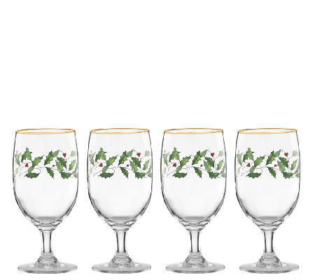 Lenox Holiday Set of 4 Iced Beverage Glasses