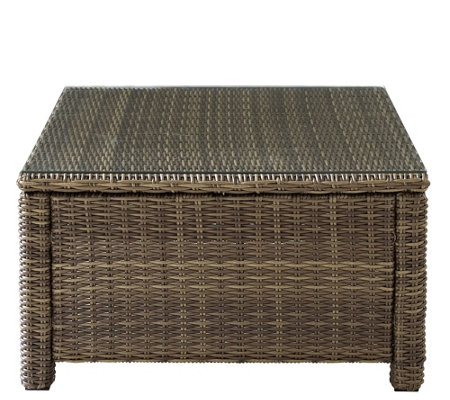 Crosley Bradenton Wicker Sectional Glass Top Coffee Table