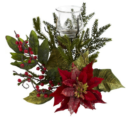 Poinsettia Candleabrum by Nearly Natural