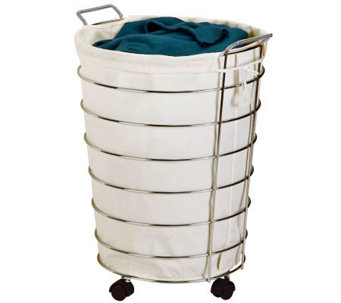 Honey-Can-Do Chrome Rolling Hamper - H367400