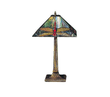 "Tiffany Style 21-1/2""H Dragonfly Lamp"