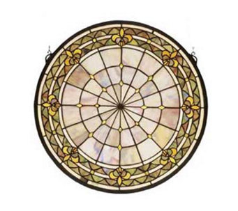 Tiffany Style Round Fleur-de-Lis Window Panel - H123701