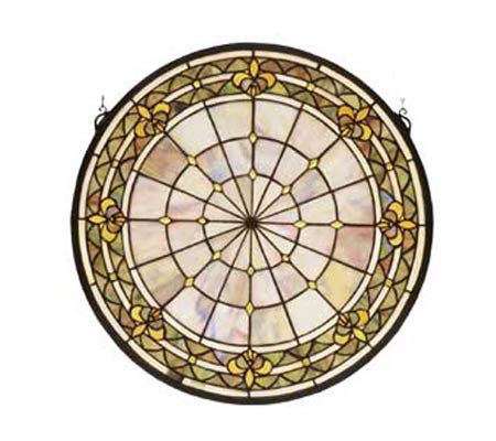 Tiffany Style Round Fleur-de-Lis Window Panel