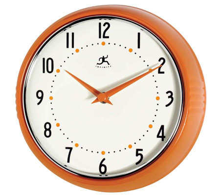 The Retro Orange Metal Wall Clock by Infinity