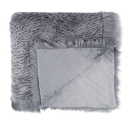 Dennis Basso Platinum Oversized Faux Fur Throw with Trim