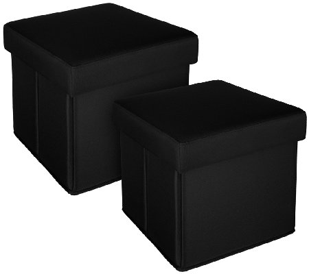 Set Of 2 Solid Indoor Outdoor Fold Up Ottomans By Valerie