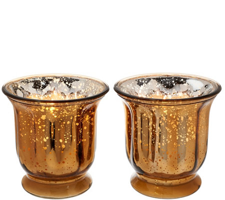 Set of 2 16 oz. Candles in Glass Hurricanes by Valerie