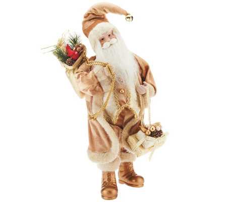 """As Is"" Dennis Basso 18"" Elegant Faux Fur Standing Santa"