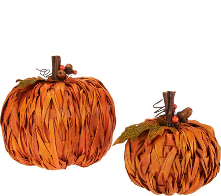 "Set of 2 6"" Braided Weave Raffia Pumpkins"