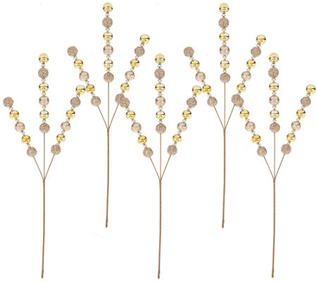 Set of 5 Glitter Ball Stems by Valerie