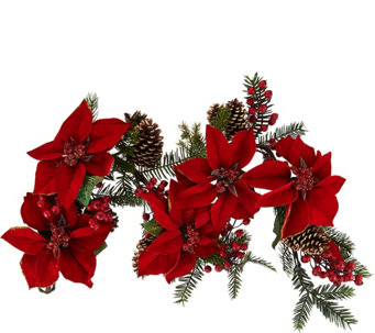 4' Glitter Velvet Pointsettia and Pinecone Garland - H209701