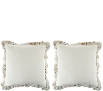 """As Is"" Dennis Basso Set of 2 Faux Fur Pillows with Trim - H211101"