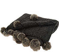 Inspire Me! Home Decor 50x60 Knit Throw w/ Faux Fur Details - H213001
